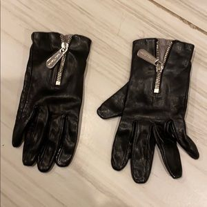 Michael lots black leather gloves with zipper